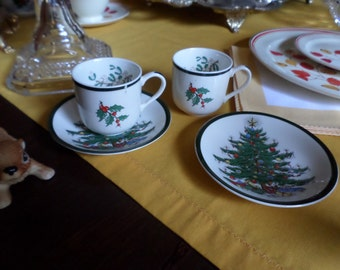 Vintage Johnson Brothers England-Demitasse/Espresso-Christmas Tree Cups and Saucers Sets