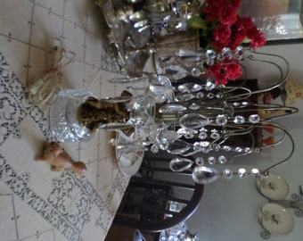 Vintage Hollywood Regency Austrian Crystal Waterfall Buffet Lamp-Brass Cherub Base