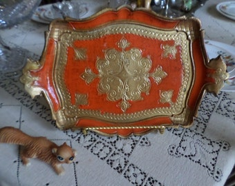 Vintage Florentine Italy/Italian Paper Mache Tole Serving Tray-Ornate Red/Gold Design