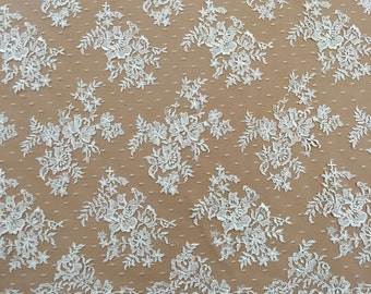 Ivory Lace, Embroidered Lace, Bridal Lace, Lace Fabric, Lace Material, Floral Lace, Wedding Dress Lace (C8)