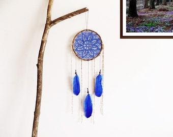 Bohemian dreamcatcher,  blue, brown, wall decoration, wall hanging, dream catcher, medium, handmade, woodland, floral, flower, nursery decor