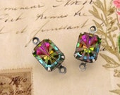 Rivoli Carved Iridescent Vitrail 10x8mm Octagon Rhinestone Connectors in Antiqued Silver Ox Prong Link Settings Rectangle - Pair