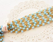 Vintage Aqua Blue Beaded Rosary Chain 4mm Round Plastic Beads Brass Links – 2 Feet