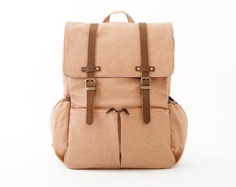 Lightdays Diaper Bag Backpack / Canvas Backpack / Tan