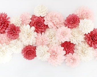 Valentines Day Decor, 15 Red Pink and Cream Wooden Flowers, Wedding Decorations, Wedding Flowers, Wedding Table Decor,