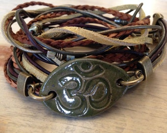 Leather Wrap Inspirational Boho Ceramic Bracelet with Handmade Ceramic OM piece