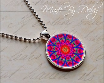 Fractal Mandala Round Pendant Necklace Silver Chain Choice of Design