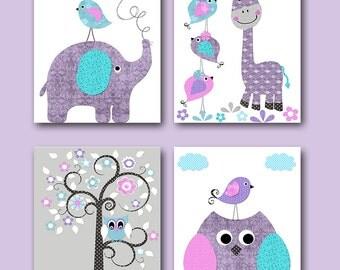 Grey Pink Lavender Canvas Print Baby Girl Nursery Art for Children Art Kid Wall Art Elephant Wall Art Giraffe Wall Art Owl Wall Art set of 4