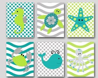 Bathroom Art Print Gray Green Sea Wall Decor Whale Crab Octopus Starfish Baby Boy Nursery Art Baby Nursery Print Kids Art set of 6