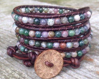 beaded leather wrap bracelet multi colored fancy jasper neutral colors 5 wrap around