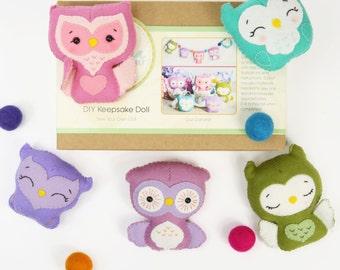 OWL GARLAND DIY Doll Kit // Wool Felt Doll Kit // Noialand Doll Kit // diy felt doll // Owl Doll Kit // Christmas Ornament