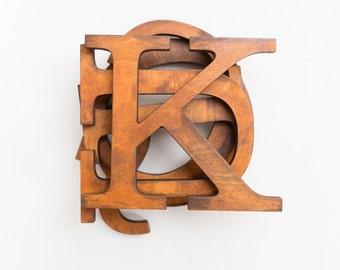 Vintage wooden letters, decorative letters for wall, alphabet letters, custom colors