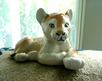 Vintage Figurine - Russia Lion Cub - USSR 1970's Figurine - Baby Lion Figurine - Russian Porcelain - Baby Room Decor - Sculpture - Cabinet