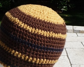 Gold and Brown Crochet Beanie hat  Bamboo soft