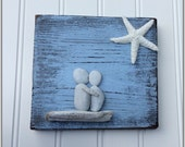 Engagement Gift, Pebble Art, Nautical, Mixed Media, Beach House, Lake house, Beach Decor, Shou Sugi Ban,  Driftwood, Gifts, Distressed, Love
