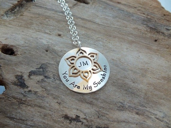 Personalized Jewelry, You Are My Sunshine, Hand Stamped Jewelry, Names or phrase, Personalized you are my sunshine Jewelry