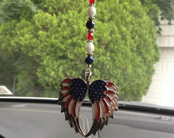 Patriotic Angel Wing Car Jewelry, Red White and Blue Wings, Limited Edition,Sale