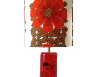 Large Orange Shatterline Shattaline retro 70s lamp with handmade shade