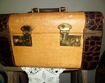 Vintage Train Case Luggage Suitcase Travel Leather Case