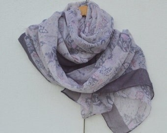 Spring Light Grey Scarf in darker purple mosaic print, Women, Lightweight Scarf, Gift Ideas for Her