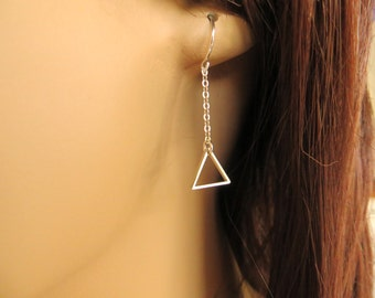 SALE:  Triangle Chain Earrings. Tiny Triangle Earrings. Dangle Earrings. Sterling Silver Earrings.