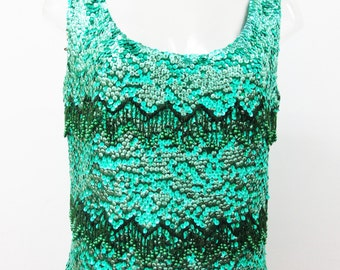1960s Emerald Green Sequinned Top with Cascading Beaded Zig Zags on Hand Loomed Knit