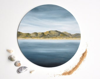 Coastal artwork for living room, round painting, acrylic beach paintings, blue paintings for bedroom, dark blue paintings, coastal decor