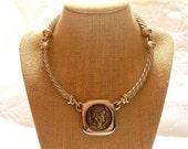 Les Bernard Silver Gold Coin Choker Statement Nexklace Napoleon Medallion