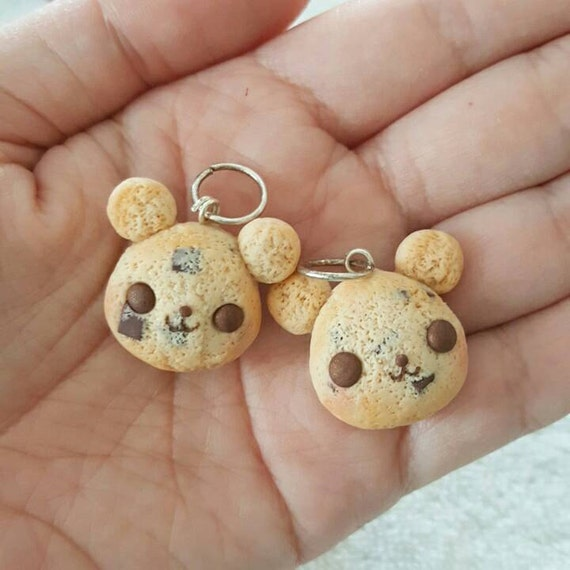 Chocolate Chip Cookie Bear Charm, Cookie Bear Polymer Clay Pendant, Cookie, DS Charm, polymer clay, clay pendant, Kawaii, Chibi, Clay Charm