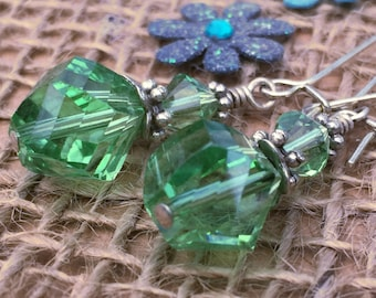 Faceted Crystal Earrings, Green Glass Earrings, Gift for Women, Birthday Gift, Stocking Filler for Women, Green Dangle Earrings, Glass Drop