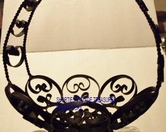 Iron Basket. Collectible Basket. Home Decor. Vintage Wrought Iron. Fruit Basket