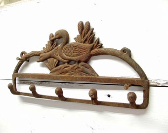 Cabin Decor, Duck Hook - Worn And Rusty - Great for Keys or Coats