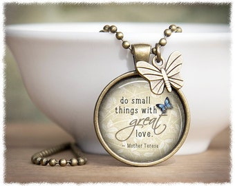 Inspirational Jewelry • Mother Teresa Necklace • Do Small Things With Great Love • Jewelry With Quotes
