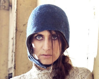 Handmade Felt Hat Blue. Biker's Hat with leather strap. Made in Ireland from Superfine Merino and local luxury wool.
