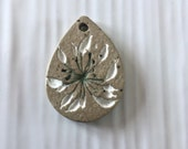 Organic rustic stoneware  pendant, small Queen Anne's Lace pendant, handmade floral pendant, Nature jewellery