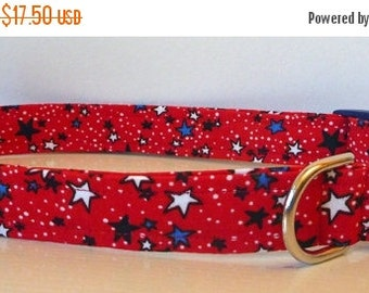 """Dog Collar - Red, White & Blue Stars - 4th Of July """"Stars""""- Free Colored Buckles"""