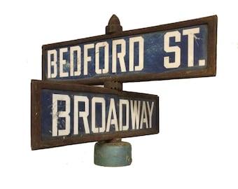 Vintage New Jersy Street Sign Broadway Bedford 1930s 1940s