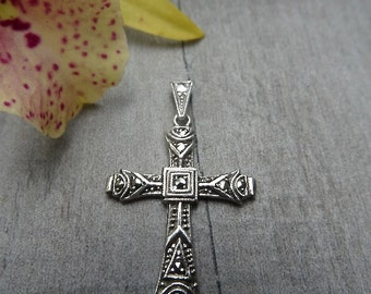 Mid century crucifix pendant. Sterling silver.