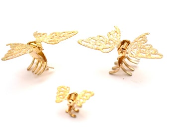 90s Gold Sparkly Butterfly Hair Clips Barrettes Adorable Lot of 3 Wing Flapping