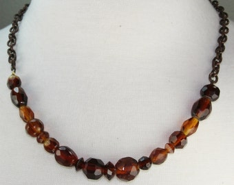 Glass beaded choker, antique copper chunky recycled glass, brown beaded necklace