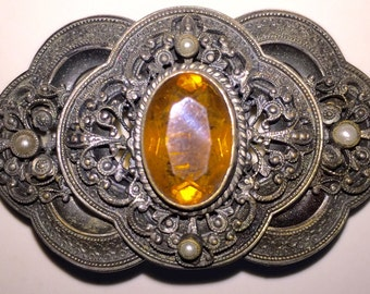 Victorian Citrine Brooch Sash Pin, Vintage Citrine Glass Pin, Authentic Victoriana Steampunk STUNNING!