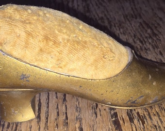 Victorian Shoe Pincushion Antique Figural Bronze Colored Metal Sewing Collectible