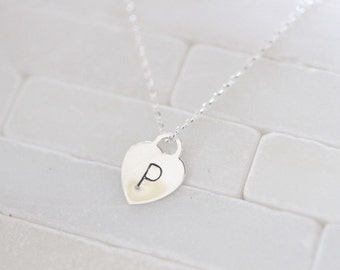 Sterling Silver Heart Necklace - Personalized Heart Charm, Initial Charm Necklace - Heart Necklace - Necklace With Heart - Heart Charm