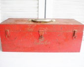 Vintage Metal Tool Box Large Metal Box Snapon Tool Box Industrial Rustic Orginal Finish Red Mancave Decor Craft Room Home Decor Photo Prop