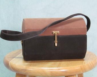 1950s Box Purse Handbag Vintage Brown Lennox Label
