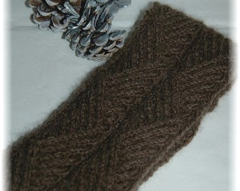 "Qiviut (Muskox) Headband / Earwarmer for Men or Women ""Hernando Island"" - hand knit in cable pattern, MADE TO ORDER"