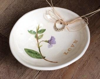 LOVE Ring Bearer Bowl, Purple Ring dish, Violet wedding Ring Bowl, handmade pottery ring dish Spring Wedding Ring Bowl, purple Ring dish