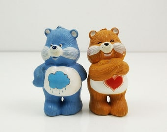 Vintage Care Bear Figurines / Grumpy and Tender Heart Bear / American Greetings Ceramic Carebears