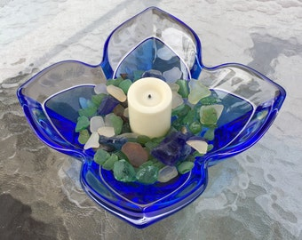 Gorgeous Orrefors signed art glass bowl, incalmo, probable Lars Hellsten Neptunus, clear and blue fused glass, tulip shape, collectible