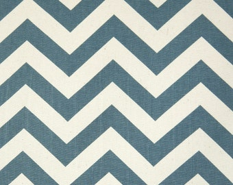 Denim and Natural Chevron Cotton Fabric - Drapery Fabric - Heavy Cotton Fabric - Blue and Tan Zig Zag- Fabric by the Yard
